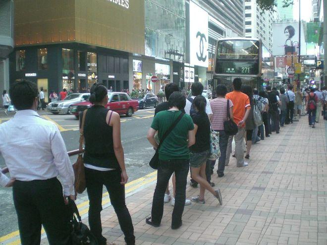 Correct bus queue (albeit in Hong Kong)