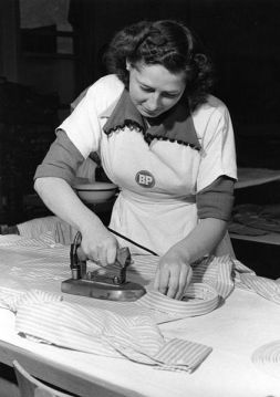Ironing a shirt in 1953 Germany